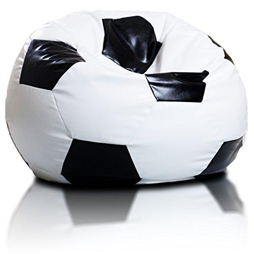 Bepouf Poltrona Sacco Calcio Puf Pallone Pouf Football Dimensioni 55x35 Cm Ecopelle Pieno (S)