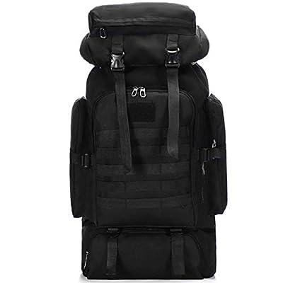 Wesoke 80L Camping Hiking Military Tactical Backpack, Adjustable Waterproof Large Capacity Travel Daypacks Outdoor MOLLE Rucksack, Black