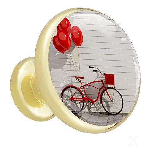Pomo para muebles infantiles Globo rojo de bicicleta Pequeño mango exquisito...