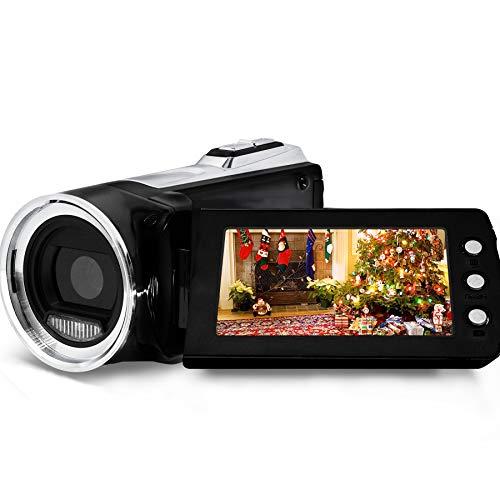 Videocámara con cámara de Video 1080P con luz de Relleno LED, cámara Vlogging Youtube FHD de 24MP, videocámara con Pantalla giratoria LCD de 270 Grados GDV8162