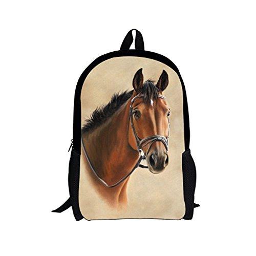 Best Backpacks for Men, Personalized 3D Horse Print Casual Designer Backpack for Kids Adult School Bag