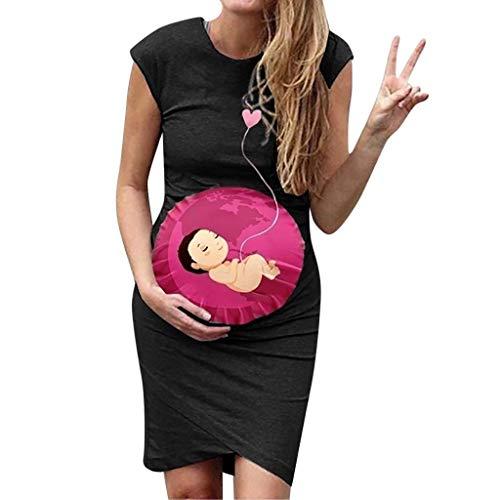 Vestidos Premama Verano SHOBDW Moda 2020 Vestidos Mujer Verano Impresión de Dibujos Animados Pijamas Mujer Tallas Grandes Ropa Premamá Cómoda Vestido de Maternidad de Fiesta