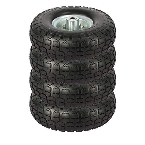 Yaheetech 4 Stück PU Rad ØxB:255 x 80 mm, Schubkarrenreifen, Sackkarrenrad, Bollerwagen Ersatzrad, Vollgummiräder mit Metallfelge, 16mm Achse Reifen, pannensicher & verschleißfest
