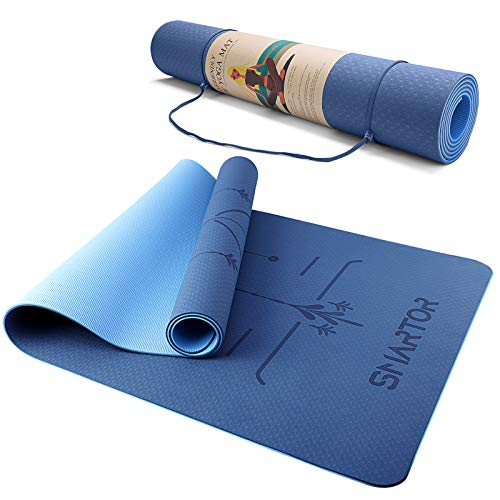 Smartor Extra Large Yoga Mat For Hot Yoga with Pro Body Alignment, Non-Slip Exercise Fitness Mat with Carrying Strap, Eco...