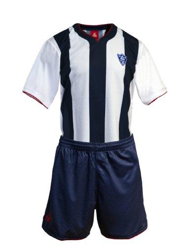 Peak Sport Europe Ensemble Maillot à Rayures et Short de Football pour Homme Multicolore Blanc/Bleu XXL