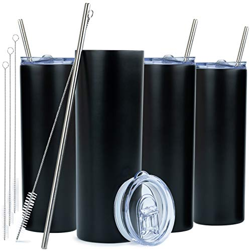 SKINNY TUMBLERS (4 pack) 20oz Stainless Steel Double Wall Insulated Tumblers with Lids and Straws | Skinny Travel Mug, Straw Cleaner INCLUDED! Reusable Cup With Straw | Vinyl DIY Gifts (Black)