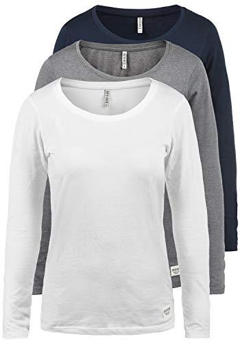 DESIRES Lavinia Damen Longsleeve Langarm Shirt Mit Rundhalsausschnitt 3er Pack, Größe:M,...
