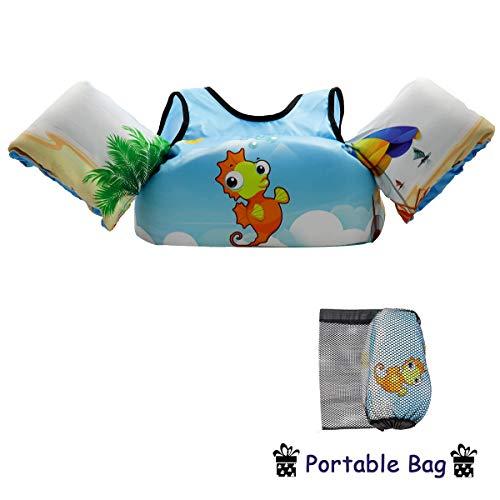 VIEKUU Schwimmflügel Schwimmwesten mit Schultergurt für Kinder von 2-6 Jahre 15-25kg Schwimmweste für Kleinkinder Schwimmen zu Lernen Schwimmhilfe für Jungen und Mädchen, Orange Seepferdchen