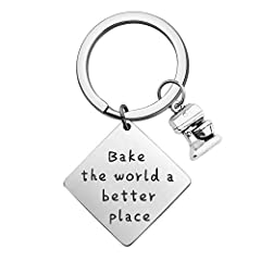 "Baker Gift - It reads ""Bake the World a Better Place"". Perfect gift for Baker Material: Stainless Steel, it is lead free and nickel free, hypo allergenic, it doesn't rust, change colour or tarnish. Measurement: 25mm*25mm. TIPS:manual measuring permis..."