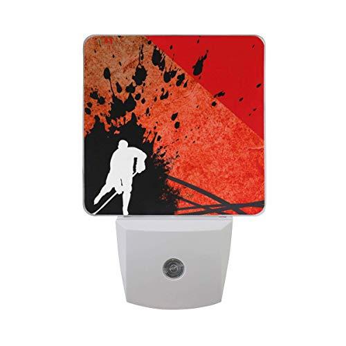2er Pack Plug-in LED Nachtlichtlampe Eishockey mit Space Printing mit Dämmerungssensor für Schlafzimmer, Badezimmer, Flur, Treppen, 0,5W