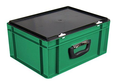Euro-Stapelkoffer EKO-4175, stapelbar, grün, mit Koffergriff, Außenmaße 400x300x186 mm (LxBxH), 13 Liter Nutzvolumen