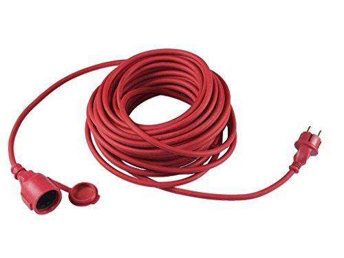 Grizzly Rallonge de câble de 20 m pour appareils électriques avec capuchon rouge pour une utilisation dans et autour de la maison