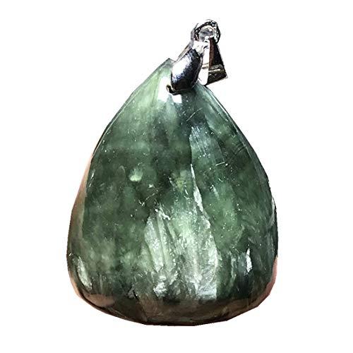 DUOVEKT Seraphinite Pendant, Natural Green Seraphinite Crystal Stone for Women Men 31x25x11mm Beads Silver Water Drop Gemstone Jewelry AAAAA