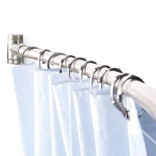 Adjustable Curved Shower Curtain Rod Rustproof Expandable Aluminum Metal Shower Rod 38-72 Inches Telescoping Design Exquisite Customizable for Bathroom,Brushed Nickel
