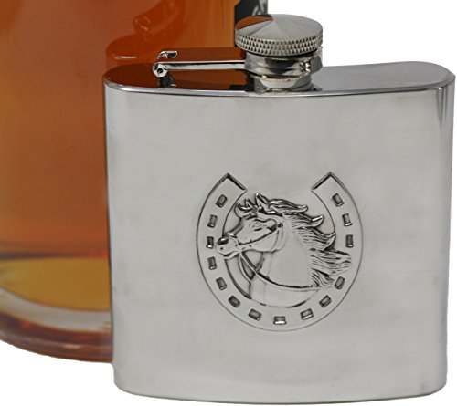 6 oz Pocket Hip Alcohol Liquor Flask in Etched Horsewhip Print - Made from 304 (18/8) Food Grade Stainless Steel