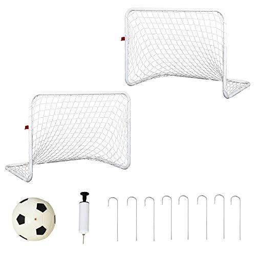 HOMCOM Set de 2 Porterías de Fútbol con Red y Balón para Niños y Adultos Juguete Deportivo para Exterior Jardín Hierro Q195 y Poliéster 78x46x56 cm Blanco