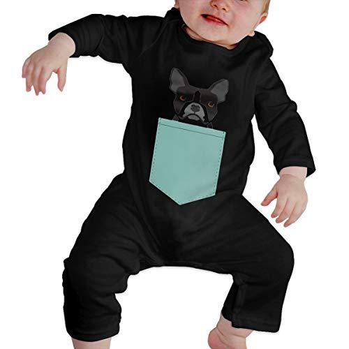 Olyha Boston Terrier and French Bulldog Baby Long Sleeve Onesies Bodysuit Cotton Toddler Romper Pajamas for Boys Girls Black