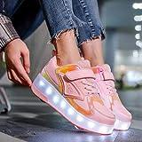 XRDSHY LED Zapatillas De Moda Chicas Niños Iluminar Las Ruedas De Skate Comfableableretractable Técnico Skateboarding Zapatos Mejor Regalo Zapatos con Ruedas,PINK-34