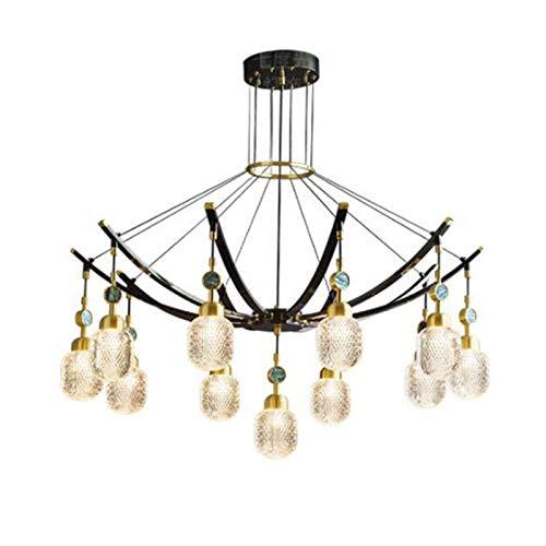 HYPPT Modern Copper Crystal Chandelier,Adjustable Luxury Pendant Lighting Hanging Line Lamp G9 Home Decor Ceiling Lights For Living Room Bedroom Dining Room-Black and copper 11t