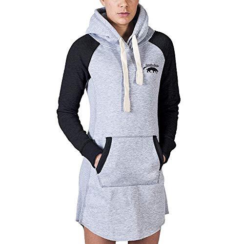 SMILODOX Damen Sweatkleid Enjoy | Hoodie Kleid für Sport Fitness & Freizeit | Oversize Kapuzenpullover | Pullover - Sportpullover - Sweatshirt, Farbe:Grau/Schwarz, Größe:XS