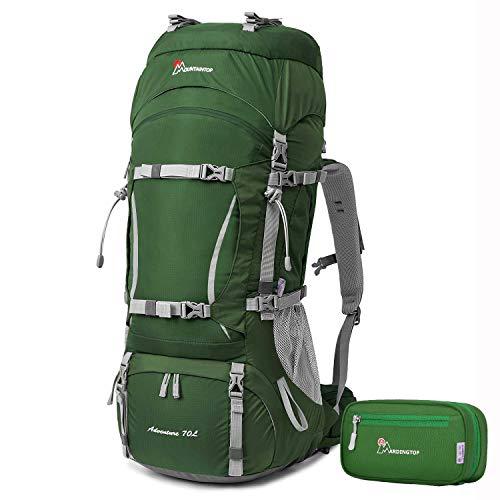 MOUNTAINTOP 50L 80L Sac a Dos randonnée Trekking Camping Voyage Alpinisme avec Couverture de Pluie (70+10L, 5805 Vert foncé+5909 Vert)