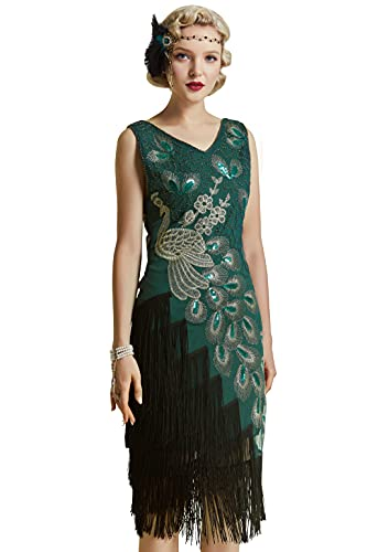 BABEYOND 1920s Vintage Peacock Sequined Dress Gatsby Fringed Flapper Dress Roaring 20s Party Dress (Dark Green with Black Fringe, XX-Large)