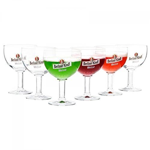 RITZENHOFF 6er Set Berliner Kindl Weisse Gläser 300 ml | Bierglas Pokal mit Eichstrich bei 0,3L | edle Biertulpe auf hohem Fuß