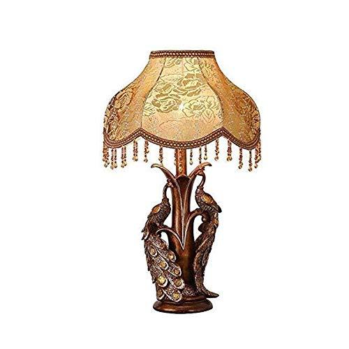 CLX Vintage Retro Pfau-Tabellen-Lampe, Antike Tischlampe Button Switch-Nachtlicht Wohnzimmer Schlafzimmer Birne Dekorative Beleuchtung Lesestudienbuch Bed,Large