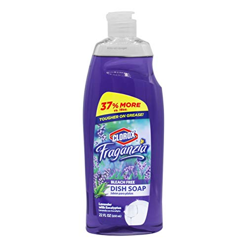 Clorox Fraganzia Liquid Dishwashing Soap Cuts Through Tough Grease FAST Quick Rinsing Formula Washes Away Germs A Powerful Clean You Can Trust, Lavender Scent, 22 Ounces