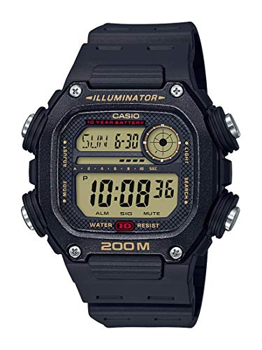 Casio 10 Year Battery Quartz Watch with Resin Strap, Black, 27.2 (Model: DW-291H-9AVCF)