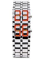 クラシック メンズ バイナリ スクエア ブルー LED デジタル 防水 腕時計 ブラックメッキ 腕時計 シルバー/レッド