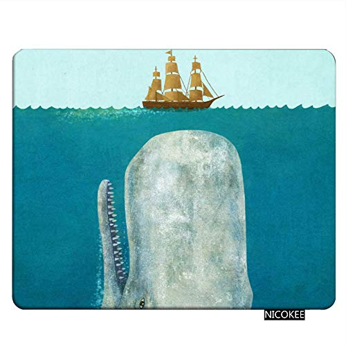 NICOKEE Whale Rectangle Gaming Mousepad Moby Dick Whale Crash a Boat...