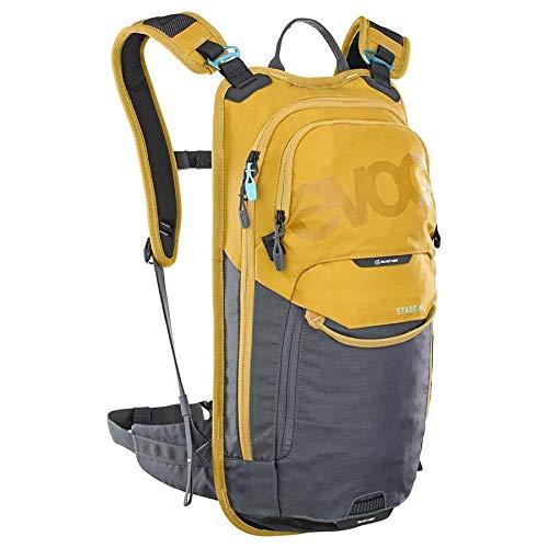 EVOC STAGE 6 technischer Bike-Rucksack für Enduro Biking und andere Outdoor-Aktivitäten (durchdachtes Taschenmanagement, maximale Rückenbelüftung, inkl. 2l Trinkblase), Lehm Gelb / Carbon Grau