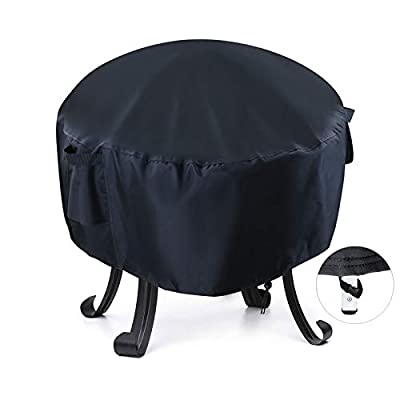 Onlyme Fire Pit Cover Round - Waterproof Fire Bowl Cover for Outdoor Patio, Anti-UV, Windproof - Black (26(D) x 12(H) inch) by Onlyme
