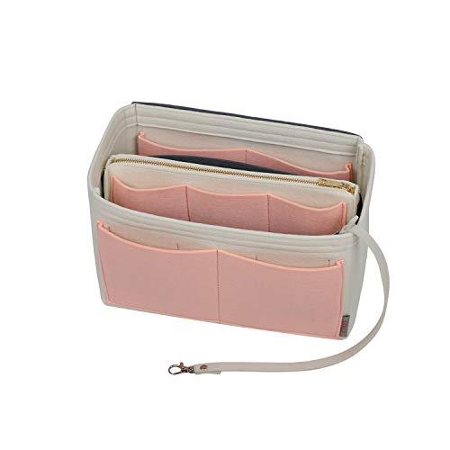 Geldbörsen-Organizer-Einsatz, Filztasche, Organizer mit Reißverschluss, formend für Handtasche & Tragetasche, für Tragetasche Speedy Neverfull, 5 Größen, (Weiß, Pinsel Pink und Grau), Large