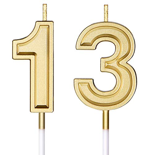 Syhood 13th Birthday Candles Cake Numeral Candles Happy Birthday Cake Candles Topper Decoration for Birthday Wedding Anniversary Celebration Favor