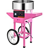 VBENLEM 20.5 Inch Commercial Cotton Candy Machine with Cart Pink Stainless Steel Electric Candy Floss Maker with Cart Perfect for Various Parties