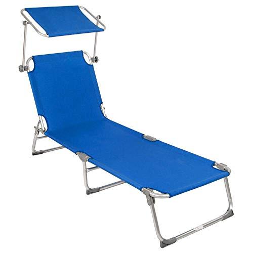 Tumbonas para jardín plegable con sombrilla ajustable reclinable portátil de 200 kg de carga para interiores y exteriores, playa, jardín, ocio, color azul, azul