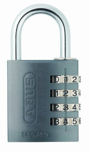 ABUS Zahlenschloss 145/40 Titanium - Vorhängeschloss aus massivem Aluminium - mit individuell einstellbarem Zahlencode - 49551 - Level 4