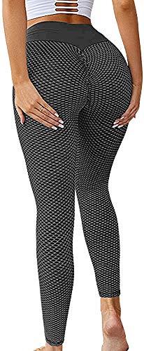 Memoryee Frauen Honeycomb Leggings geraffte Hintern heben hohe Taille Yogahosen schick mit Taschen Sport Bauch Kontrolle Gym/Style2-Black/M