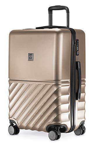 HAUPTSTADTKOFFER - Boxi - Hartschalen-Koffer Koffer Trolley Rollkoffer Reisekoffer TSA, 4 Rollen, 65 cm, 70 Liter, Gold
