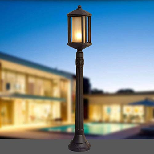 Lámparas de pared E27 Mármol europeo de mármol Lámpara de césped al aire libre impermeable Lámpara de columna Lámpara de vidrio Linterna E27 Aluminio Villa Patio Paisaje Post Bolardo Light Pathway Lig