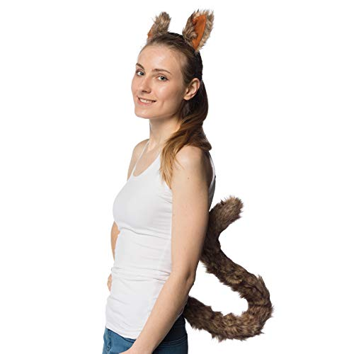 Novelty Nation Squirrel Ears Headband and Extra Long Tail - Costume Accessories
