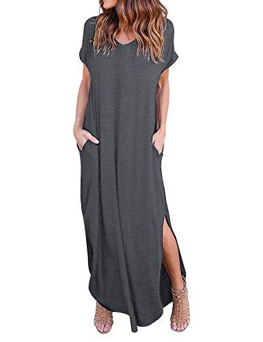 Yidarton Damen Sommerkleid Casual V-Ausschnitt Kurzarm Tasche Side Split Beach Long Maxi Kleid (L,...