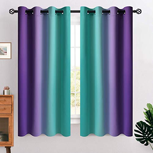 COSVIYA Grommet Ombre Room Darkening Curtains 63 inches Length for Kids/Girls Bedroom, Polyester Light Blocking Teal and Purple Gradient Window Drapes/Curtains for Living Room,2 Panels, 52x63 inches