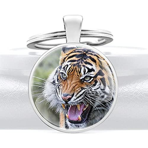 Ooopsieu Tigre en el patrón de Nieve Color de Plata Cúpula de Vidrio Llaveros de los Hombres únicos de los Hombres de Las Mujeres Llavero Regalos Personalizados