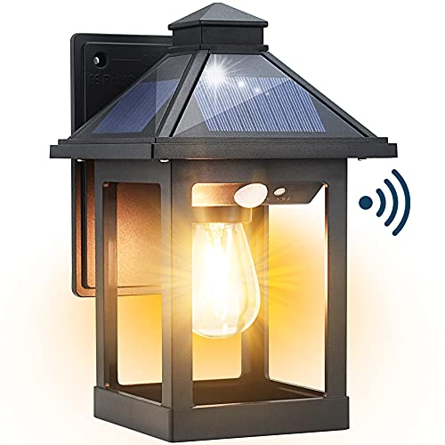 Kuniwa Solar Wall Light Outdoor with 3 Lighting Modes, Dusk to Dawn Led Wall Mount Sconce Exterior Motion Sensor Security Porch Lantern Light Fixture Waterproof for Patio Fence Outside Decorative