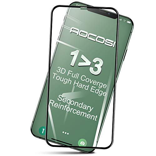 For iPhone 11 Pro Screen Protector, Aocosi Full Coverage 3D Tempered Glass, Perfect Arc Fit, 9H Transparent PC Edge Corner, for Apple i-Phone X XS 5.8'' (10x 10xs 10s 10 9) Anti Fingerprint Saver Film