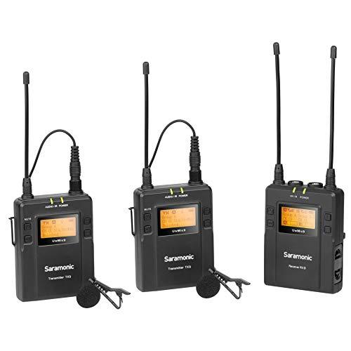 Saramonic UWMIC9 Kit 2 TX9+TX9+RX9 - Sistema de Micrófono Inalámbrico, Color Negro, 2 Bodypack TX + 1 RX