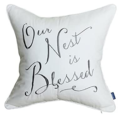 EURASIA DECOR DecorHouzz Our Nest is Blessed Pillowcases Embroidered Pillow/Cushion Cover Decorative Pillow Cover New Wedding Anniversary New Home Birthday Gifts (White)